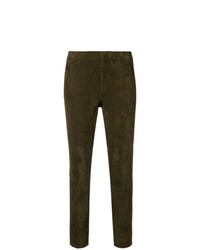 Pantalon slim en cuir marron Vince