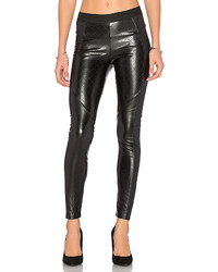 Pantalon slim en cuir matelassé noir