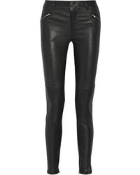 Pantalon slim en cuir noir