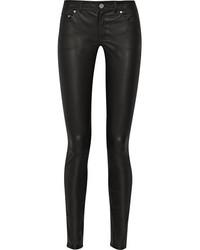 Pantalon slim en cuir noir Acne Studios