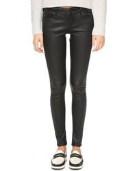 Pantalon slim en cuir noir AG Jeans