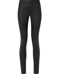Pantalon slim en cuir noir Akris