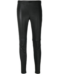 Pantalon slim en cuir noir Alexander McQueen