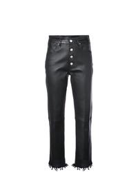 Pantalon slim en cuir noir Amiri