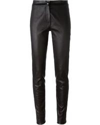 Pantalon slim en cuir noir Ann Demeulemeester