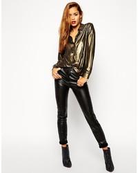 Pantalon slim en cuir noir Asos