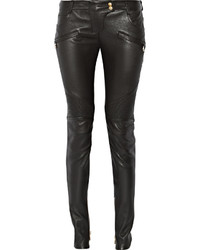 Pantalon slim en cuir noir Balmain