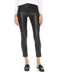 Pantalon slim en cuir noir Blank