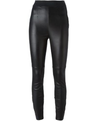 Pantalon slim en cuir noir Dolce & Gabbana