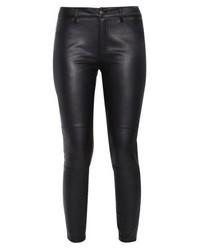 Pantalon slim en cuir noir Even&Odd