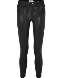 Pantalon slim en cuir noir Frame