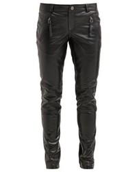 Pantalon slim en cuir noir Gestuz