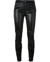 Pantalon slim en cuir noir Giamba