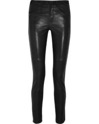 Pantalon slim en cuir noir Isabel Marant