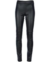 Pantalon slim en cuir noir Joseph