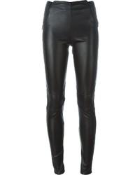 Pantalon slim en cuir noir Maison Margiela