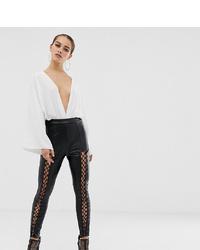 Pantalon slim en cuir noir Missguided Petite