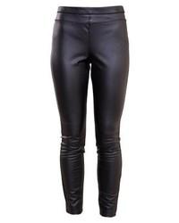 Pantalon slim en cuir noir Rebecca Minkoff