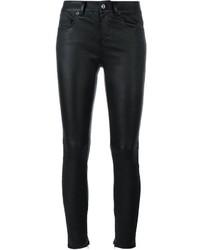 Pantalon slim en cuir noir Saint Laurent