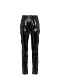 Pantalon slim en cuir noir Saint Laurent