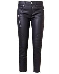 Pantalon slim en cuir noir Versace