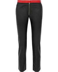 Pantalon slim en cuir noir Victoria Beckham