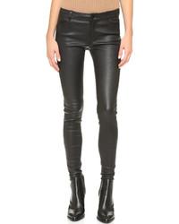 Pantalon slim en cuir noir Vince