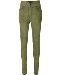 Pantalon slim en cuir olive Isabel Marant