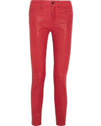 Pantalon slim en cuir rouge