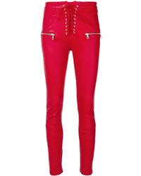 Pantalon slim en cuir rouge