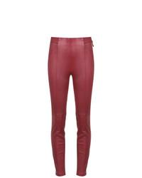 Pantalon slim en cuir rouge Tufi Duek