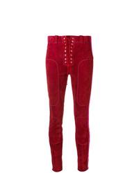 Pantalon slim en cuir rouge Unravel Project
