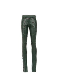 Pantalon slim en cuir vert foncé