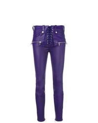 Pantalon slim en cuir violet