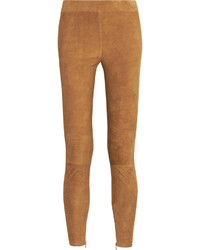 Pantalon slim en daim marron clair Vince