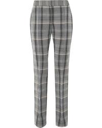 Pantalon slim en laine à carreaux gris