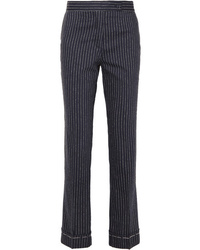 Pantalon slim en laine à rayures verticales bleu marine