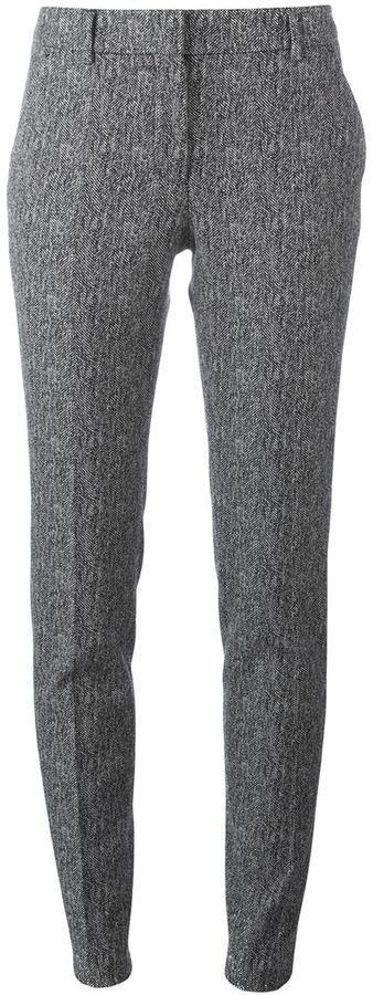 Pantalon slim en laine gris Incotex