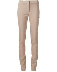 Pantalon slim en laine marron clair