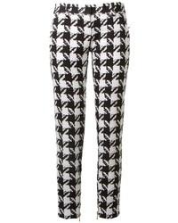 Pantalon slim en pied-de-poule blanc et noir Balmain