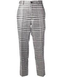 Pantalon slim en pied-de-poule blanc et noir Comme des Garcons