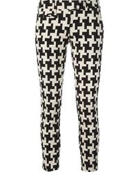 Pantalon slim en pied-de-poule noir et blanc
