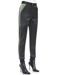 Pantalon slim en soie noir