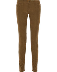 Pantalon slim en velours côtelé marron