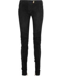 Pantalon slim en velours noir Balmain