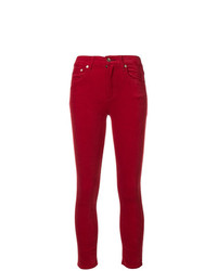 Pantalon slim en velours rouge Rag & Bone