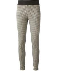Pantalon slim en vichy noir et blanc