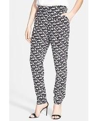 Pantalon slim géométrique gris