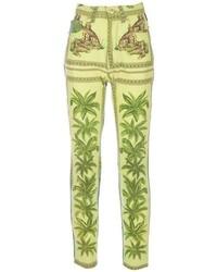Pantalon slim géométrique vert Versace