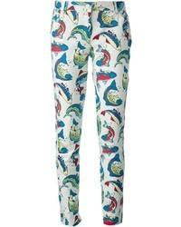 Pantalon slim imprimé blanc et bleu Kenzo